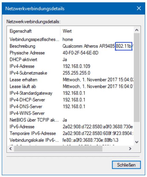 Netzwerkverbindungsdetails