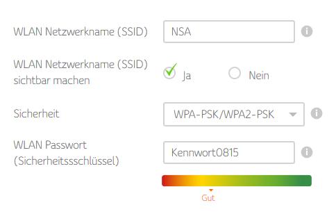 Eingabe WLAN-Passwort